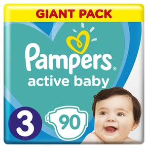 Pampers Active Baby Velikost 3, 90 Plenek, 6–10 kg