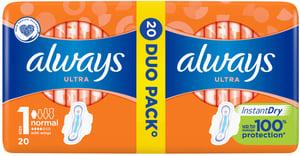 Always Ultra Normal Plus Hygienické Vložky s křidélky 20ks