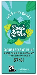 Seed & Bean BIO Mléčná čokoláda s mořskou solí a limetkou