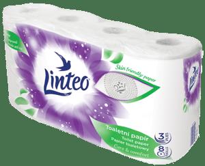 Linteo toaletní papír bílý, 3vrstvý, 8ks