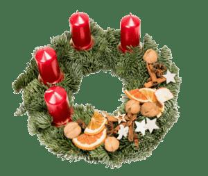 Adventní věnec jedlový, červené s přírodní doplňky Ø 30 cm