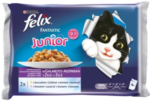 Felix Fantastic Junior s kuřetem a lososem v želé 4x100g