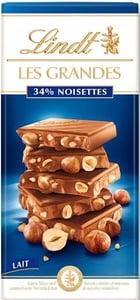 Lindt Les Grandes mléčná čokoláda s lískovými ořechy
