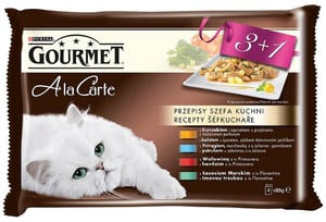Gourmet A la Carte Multipack (kuře, hovězí, pstruh, tmavá treska) 4x85g