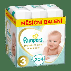 Pampers Premium Care dětské plenky Midi 6-10 kg (velikost 3) 204 ks