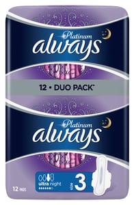 Always Platinum Night Hygienické Vložky 12ks