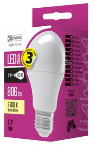 EMOS LED žárovka Premium A60 9W (náhrada 60W), E27 teplá bílá