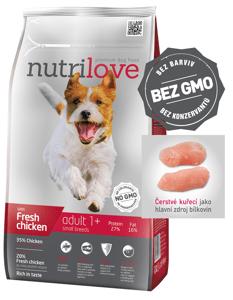 Nutrilove dog dry ADULT S fresh chicken granule pro dospělé psy malých plemen