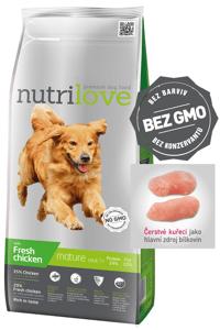 Nutrilove dog dry SENIOR 7+ fresh chicken granule pro starší psy