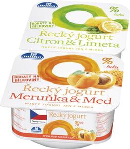 Milko Řecký jogurt 0% meruňka/med, citron/limeta, 2x140g
