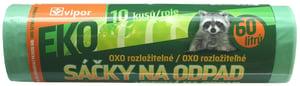 Vipor EKO rozložitelné sáčky na odpad zatahovací zelené 60l, 10ks