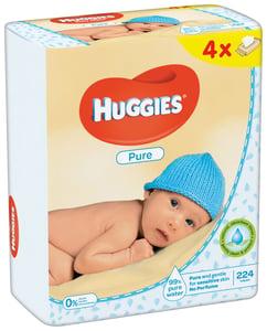 Huggies Pure Quatro dětské vlhčené ubrousky (4x56ks)