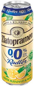 Zlatopramen Radler 0,0% Citrón, Bezový květ & Máta pivo ochucené nealkoholické plech