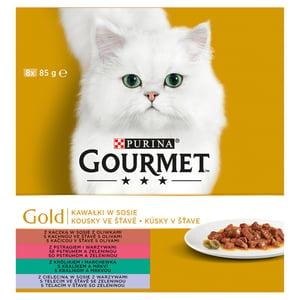 Gourmet Gold Multipack kapsičky pro kočky s kousky ve šťávě se zeleninou, 8x85g