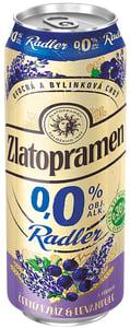 Zlatopramen Radler 0,0% Černý rybíz & Levandule pivo ochucené nealkoholické plech