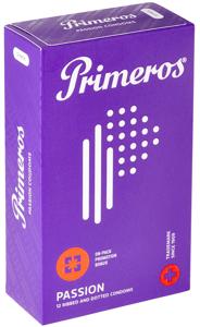 Primeros Passion kondomy se stimulujícími vroubky, výčnělky a vůní kokosu, 12 kusů