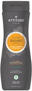 Attitude BIO Super leaves přírodní pánský šampón & tělové mýdlo (2v1) s detoxikačním účinkem - normální vlasy