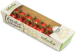 Čerstvě utrženo - Rajčata cherry kulatá na větvičce odr. Nelinka, vanička