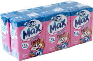 Lactel Max s jahodovou příchutí, 6x200 ml