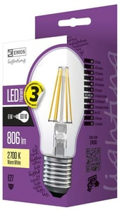 EMOS LED žárovka Filament Classic A60 6W (náhrada 60W), E27, teplá bílá