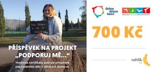 Pomáhejte s Rohlíkem – DEJME DĚTEM ŠANCI o.p.s. - Certifikát v hodnotě 700 Kč