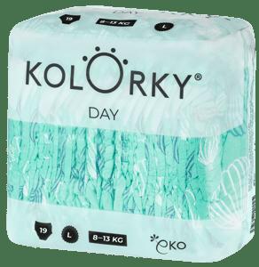 Kolorky Day L (8-13 kg) - balóny - 19 ks - jednorázové eko plenky