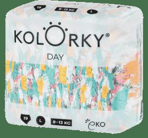 Kolorky Day L (8-13 kg) - štětce - 19 ks - jednorázové eko plenky