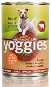 Yoggies monoproteinová konzerva pro psy s hovězím masem, karotkou a lněným olejem