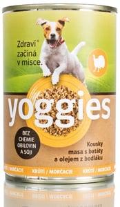 Yoggies monoproteinová konzerva pro psy s krůtím masem, batáty a bodlákovým olejem