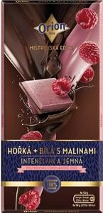 Orion Hořká a bílá s malinami čokoláda