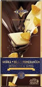 Orion Hořká a bílá s pomerančem čokoláda