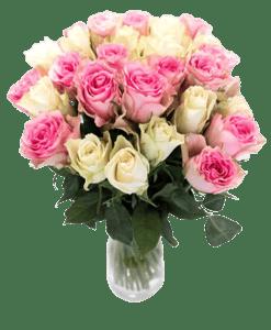 Růže růžové + bílé mix 29ks - délka 40-50 cm