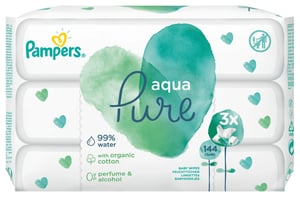 Pampers Aqua Pure vlhčené ubrousky 3x48 ks