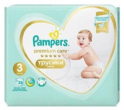 Pampers Premium Pants Carry Pack 6 – 10 kg (velikost 3) 28 ks