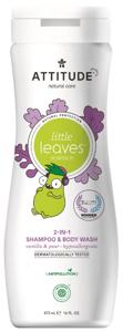 Attitude Little leaves Dětské tělové mýdlo a šampon (2 v 1) s vůní vanilky a hrušky