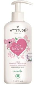 Attitude Baby leaves Dětské tělové mýdlo a šampon (2 v 1) Baby leaves bez vůně