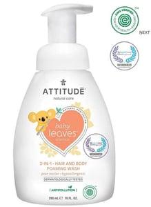 Attitude Baby leaves Dětská mycí pěna  (2 v 1) Baby leaves s vůní hruškové šťávy