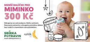 Sbírka potravin - certifikát Menší balíček pro miminko v hodnotě 300 Kč