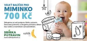 Sbírka potravin - certifikát Velký balíček pro miminko v hodnotě 700 Kč