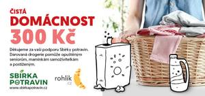 Sbírka potravin - certifikát Čistá domácnost v hodnotě 300 Kč
