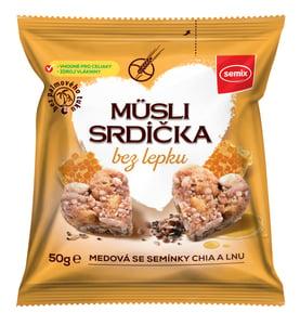 Semix Müsli srdíčka bez lepku medová s chia semínky