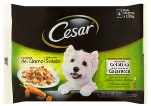 Cesar kapsičky pro psy s masem a zeleninou v želé 4 × 100g