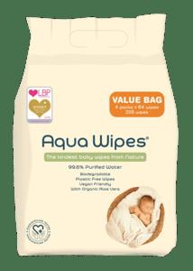 Aqua Wipes EKO vlhčené ubrousky s 99,6 % vody - výhodné balení 4x64ks