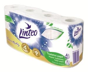 Linteo toaletní papír, 4 vrstvý, bílý, 8ks