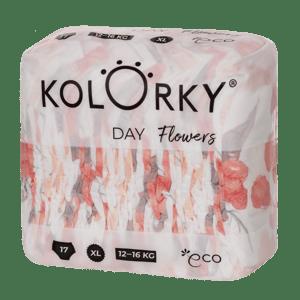 Kolorky Day XL (12-16 kg) - květy - jednorázové EKO plenky