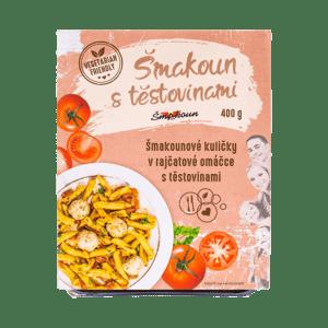 Šmakoun s těstovinami Šmakounové kuličky v rajčatové omáčce s těstovinami