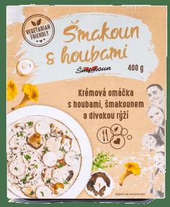 Šmakoun s houbami Krémová omáčka s houbami, šmakounem a divokou rýží