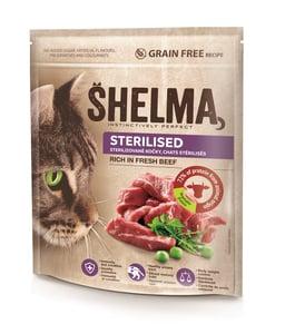 Shelma Bezobilné STERILE granule s čerstvým hovězím masem pro dospělé kočky