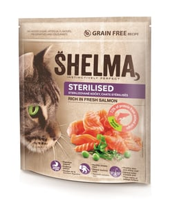 Shelma Bezobilné STERILE granule s čerstvým lososem pro dospělé kočky