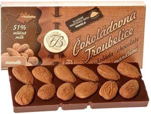 Čokoládovna Troubelice Čokoláda mléčná 51% s mandlemi